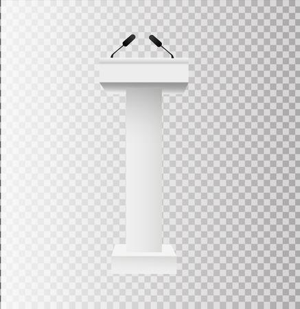 White Podium Tribune Rostrum Stands with Microphones on transparent background