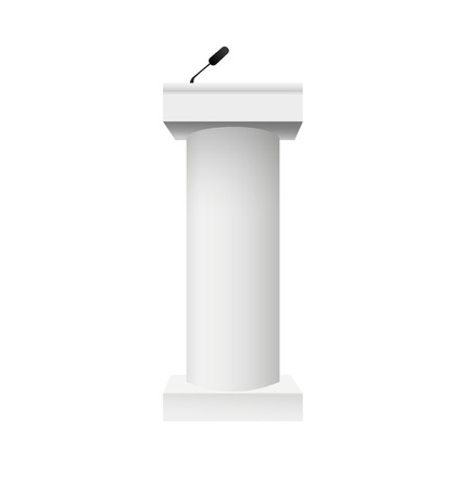 Set Vector White Podium Tribune Rostrum Stand with Microphones Isolated. Vector illustration EPS10 向量圖像