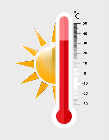heat thermometer icon - vector measurement symbol hot, cold, weather illustration - Vector illustration 向量圖像