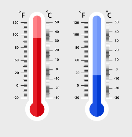 Celsius and fahrenheit meteorology thermometers measuring. heat and cold, vector illustration. Thermometer equipment showing hot or cold weather.- Vector EPS 10 向量圖像