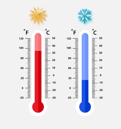 Celsius en Fahrenheit meteorologie thermometers meten. warmte en koude, vectorillustratie. Thermometerapparatuur met warm of koud weer. - Vector EPS 10