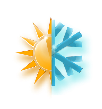 heat and cold, vector illustration. showing hot or cold weather.- Vector EPS 10