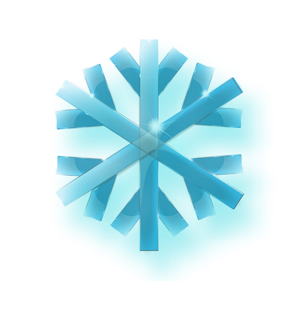 Large translucent crystal snowflake in blue tones on a transparent background. Transparency only in vector file -Vector EPS 10
