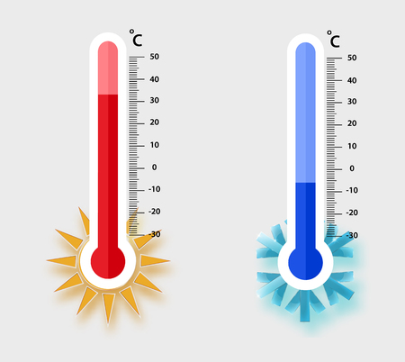 Celsius meteorology thermometers measuring. heat and cold, vector illustration. Thermometer equipment showing hot or cold weather.- Vector EPS 10 向量圖像