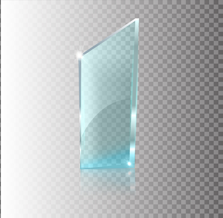 Glass transparent banner. Vector glass plates with a place for inscriptions isolated on transparent background. Flat glass. Realistic 3D design. Vector transparent object .