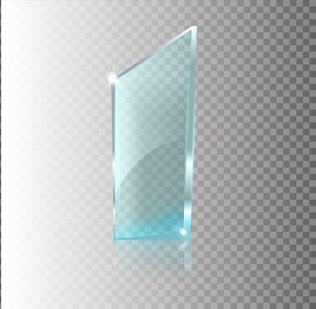 Transparentes Glasbanner. Vektorglasplatten mit einem Platz für Aufschriften einzeln auf transparentem Hintergrund. Flaches Glas. Realistisches 3D-Design. Vektortransparentes Objekt. Vektorgrafik