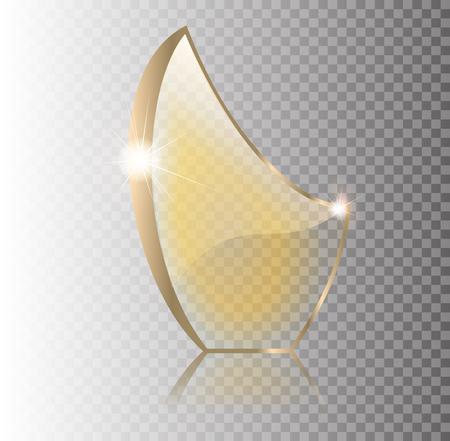 Ilustración abstracta de vidrio plano de vidrio azul roto. Diseño 3D realista. Objeto transparente de vector 10 eps. Ilustración de vector