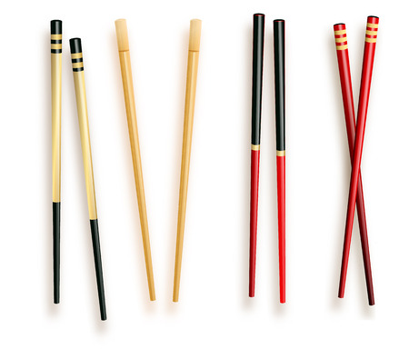 Realistic 3d Food Chopsticks Set Different Types. Vector illustration of Traditional Asian Bamboo Utensils Color Chopstick. Vector illustration 10 eps. 向量圖像