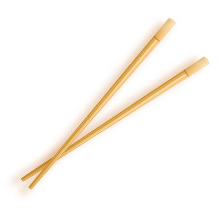 Wooden chopsticks isolated on white background. Vector illustration 10 eps.