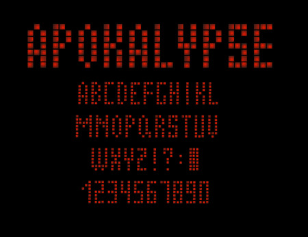 80 s retro alphabet font. Apocalypse type letters and numbers. Vector typeface for your design. Vector illustration 10 eps.