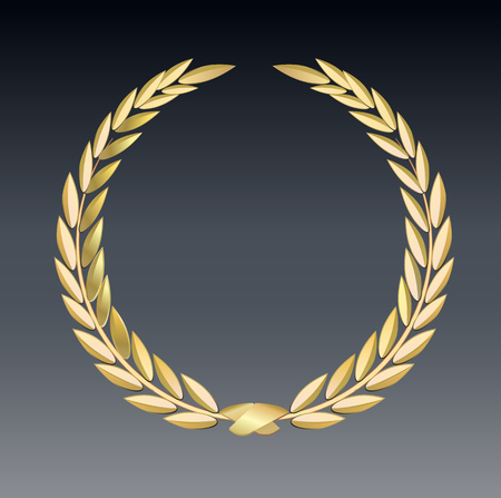 Award laurel isolated on a transparent background. Winner template. Symbol of victory and achievement. Gold laurel wreath. Realistic 3D design. Vector transparent object 10 eps. illustration