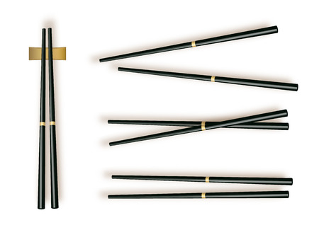Chopsticks. Set Accessories for Sushi Isolated on White Background. Vector illustration 10 eps. 向量圖像
