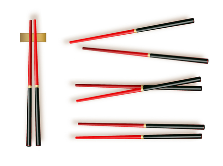 Chopsticks. Set Accessories for Sushi Isolated on White Background. Vector illustration 10 eps. Ilustração