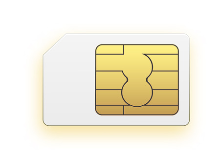 Vector Mini Sim Mobile Cellular Phone Sim Card Chip Isolated on Background. Vector stock illustration. 일러스트