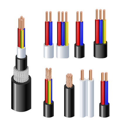Various types power, acoustic cables with electrical wire conductors held together with overall sheath realistic set vector illustration. Shielded and with additional insulation. Vector illustration 10 eps Ilustração Vetorial