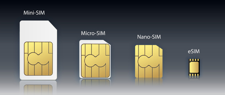 eSIM Embedded SIM card icon symbol concept. new chip mobile cellular communication technology. set SIM-cards for mobile devices with chip. vector illustration