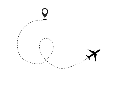 Airplane line path vector icon of air plane flight route dash line trace with start point . Vector object 10 EPS.