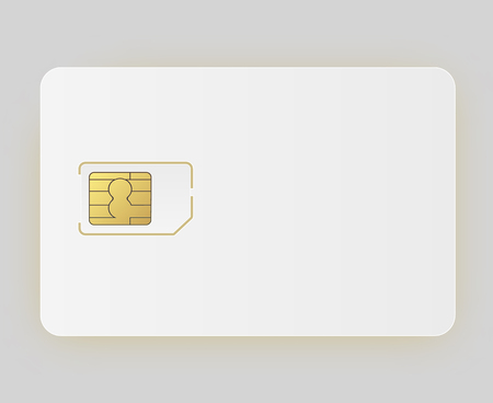 Vector Sim Mobile Cellular Phone Sim Card Chip Isolated on Background. Vector illustration 10 eps.
