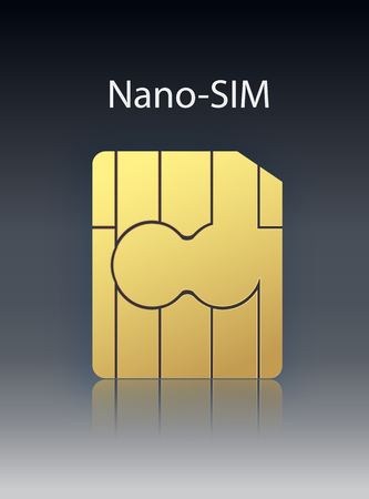 Vector Nano Mobile Cellular Phone Sim Card Chip Isolated on Background. Vector illustration 10 eps.