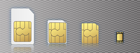 eSIM Embedded SIM card icon symbol concept. new chip mobile cellular communication technology. set SIM-cards for mobile devices with chip. vector illustration. Vector illustration 10 eps.