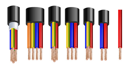 Various types power, acoustic cables with electrical wire conductors held together with overall sheath realistic set vector illustration. Shielded and with additional insulation. Vector illustration 10 eps