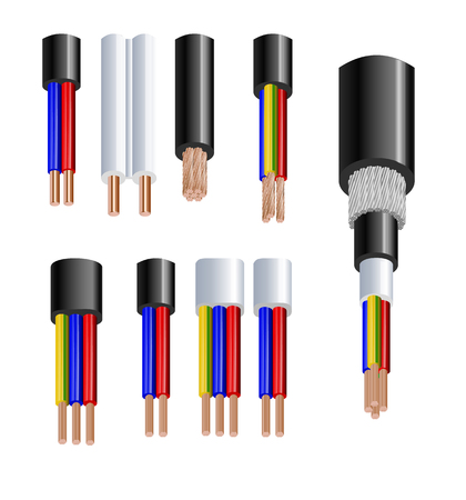 Various types power, acoustic cables with electrical wire conductors held together with overall sheath realistic set vector illustration. Shielded and with additional insulation.