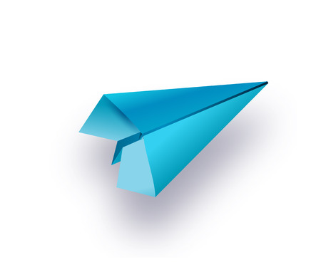 Flat lay of blue paper plane and blank paper on pastel white color background.