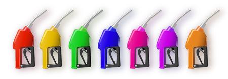 multi-colored filling guns gasoline gun or oil dispenser. 3d illustration. Isolated on white background. gasoline pump 3d render. Fuel vector illustration EPS 10. Stock Vector - 124576880