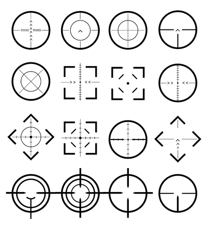 Different icon set of targets and destination. Target and aim, targeting and aiming. Different icon set of targets and destination. Ilustrace