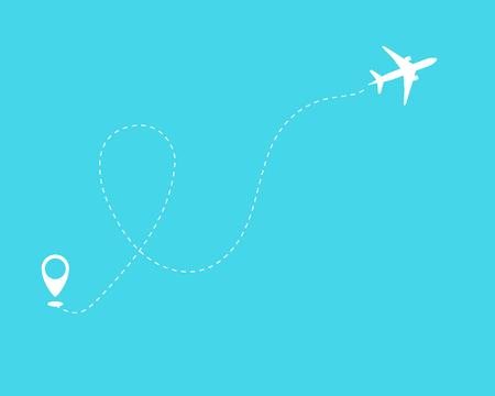 Plano y su pista sobre fondo azul. Ilustración vectorial 10 eps.