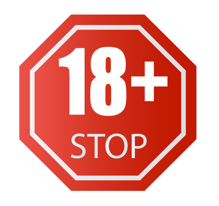 Under 18 years old prohibitory sign. for adults only. Number eighteen on a red background. Vector illustration 10 eps.