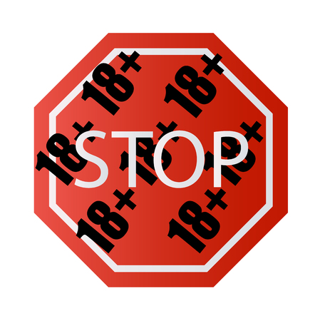 Under 18 years old prohibitory stop sign for adults only Number eighteen on a red background