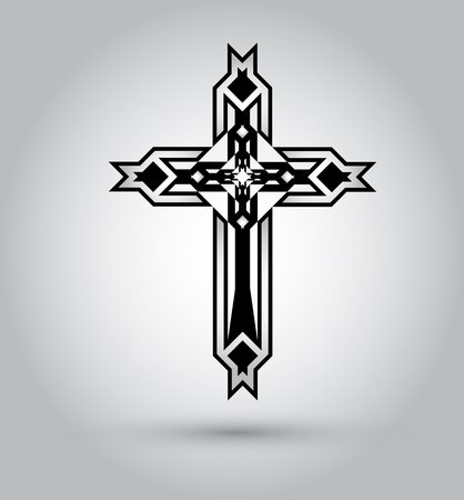 Christian cross icon. Black christian cross sign isolated on white background.