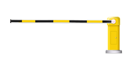 Detailed vector illustration of a black and yellow striped car barrier with stop sign. Illustration
