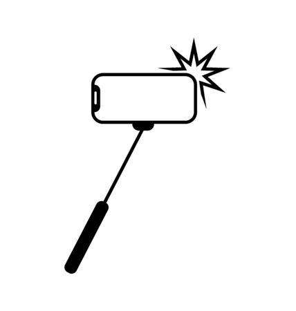 Selfie stick photo camera sign. Vector photography from a mobile phone. The smartphone is allowed. Monobreed selfie resolved symbol icon. Beware of selfie sticks. Illusztráció
