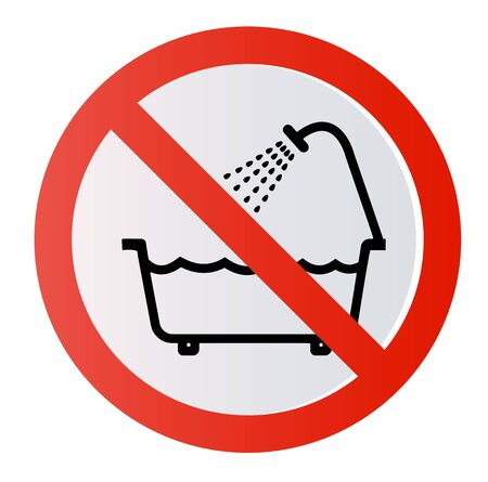 Prohibition sign. Do not use this unit in the bath, in the water.