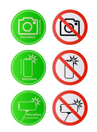 Allowed signs and stop sign No selfie sticks No photos No camera Vector mobile phone photography smartphone forbidden sign symbol icon monopod selfie prohibited Beware hand hold sticks circle shape Caution signs Illustration