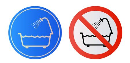 Prohibition sign. Do not use this unit in the bath, in the water. Vector EPS 10
