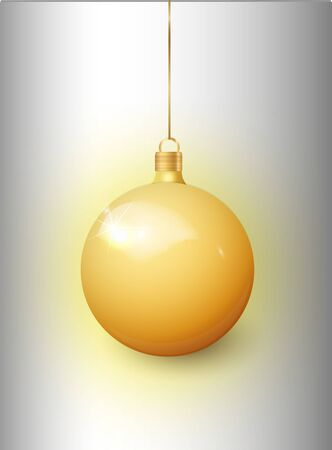 Gold Christmas tree toy isolated on a transparent background. Stocking Christmas decorations. Vector object for christmas design, mockup. Vector realistic object Illustration 10 EPS Illusztráció