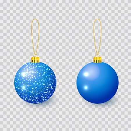 Blue Christmas tree toy isolated on a transparent background. Stocking Christmas decorations. Vector object for christmas design, mockup.