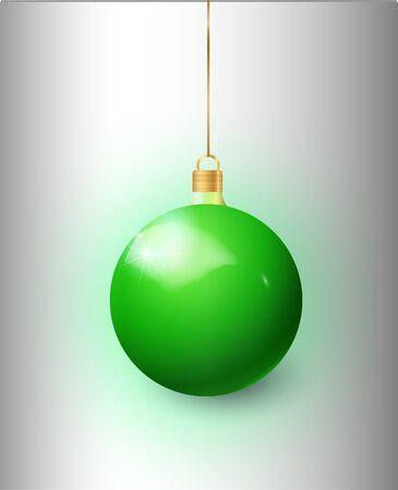Green Christmas tree toy isolated on a transparent background. Stocking Christmas decorations. Vector object for christmas design, mockup. Иллюстрация