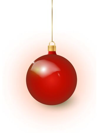 Red Christmas tree toy isolated on a transparent background. Stocking Christmas decorations. Vector object for christmas design, mockup. Vector realistic object Illustration 10 EPS