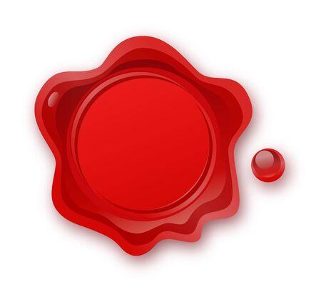 Sceau de cire rouge isolé sur fond blanc. Cachet de cire de cachet rétro et ancien. Protection et certification, garantie et marque de qualité. Accords commerciaux. Affranchissement, courrier. Vecteurs