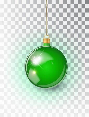 Green Christmas tree toy isolated on a transparent background. Stocking Christmas decorations. Vector object for christmas design, mockup. Vector realistic object