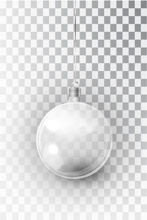transparent Christmas tree toy isolated on a transparent background. Stocking Christmas decorations. Vector object for christmas design, mockup. Vector realistic object Illustration 10 EPS