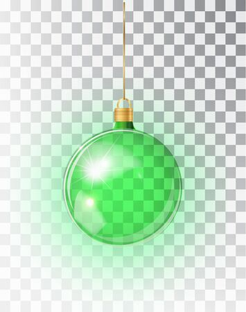 Green Christmas tree toy isolated on a transparent background. Stocking Christmas decorations. Vector object for christmas design, mockup. Vector realistic object Illustration 10 EPS