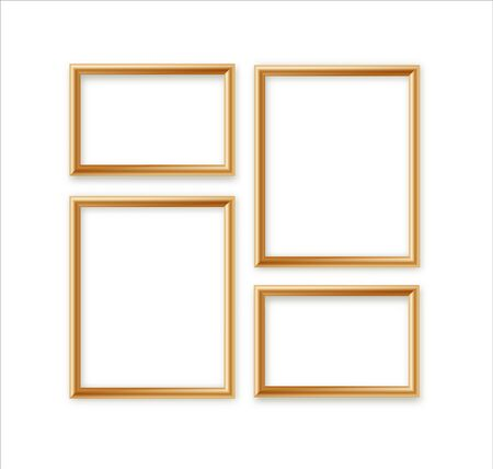 Vector Blank Picture Frame Template Composition Set isolé sur fond de mur