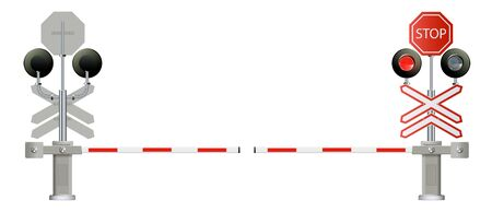 traffic light, Railway barriers close isolated on white background, design concept for start up, business solutions,development and innovation, creativity, Ilustracja