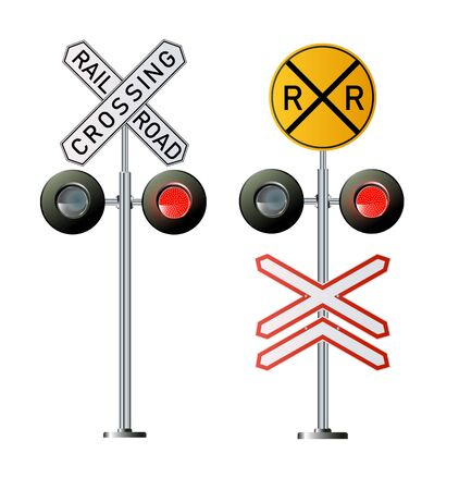 Semaphore signal traffic.Train lights. Vector illustration