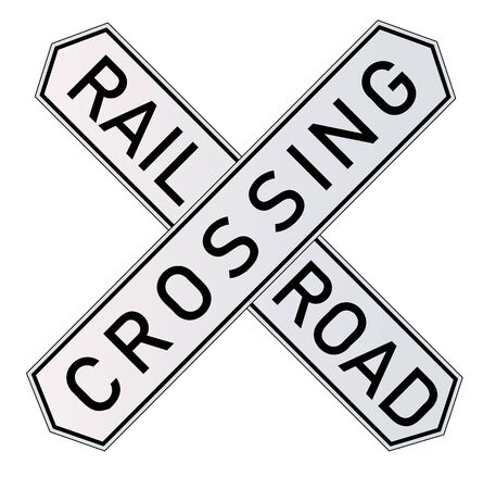segnali di pericolo ferroviari dettagliati di vettore isolati su priorità bassa bianca. Illustrazione vettoriale in EPS 10.
